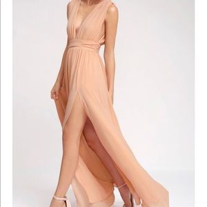 Lulus heavenly Hues blush maxi dress